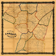 Carroll County Maryland 1863 - Old Map Reprint