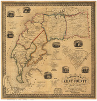 Kent County Maryland 1860 - Old Map Reprint