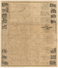 Clinton and Gratiot County Michigan 1864 - Old Map Reprint