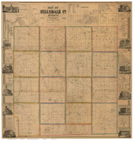 Hillsdale County Michigan 1857 - Old Map Reprint
