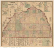Huron County Michigan 1875 - Old Map Reprint