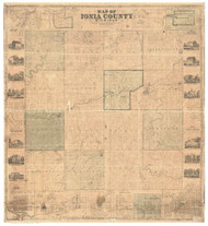 Ionia County Michigan 1861 - Old Map Reprint