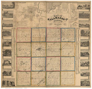 Kalamazoo County Michigan 1861 - Old Map Reprint