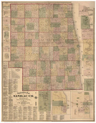 Sanilac County Michigan 1876 - Old Map Reprint