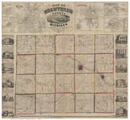 Washtenaw County Michigan 1856 - Old Map Reprint