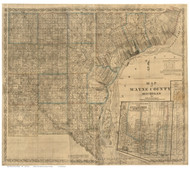 Wayne County Michigan 1855 - Old Map Reprint