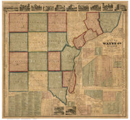 Wayne County Michigan 1860 - Old Map Reprint
