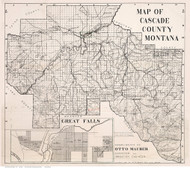 Cascade County Montana 1908 - Old Map Reprint