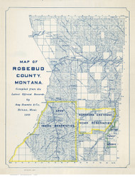 Rosebud County Montana 1911 - Old Map Reprint