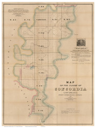 Concordia Parish Louisiana 1860 - Old Map Reprint