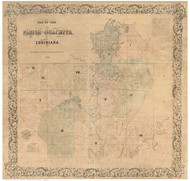 Ouachita Parish Louisiana 1858 - Old Map Reprint