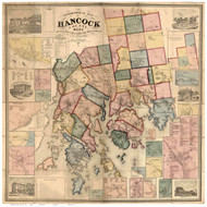 Hancock County Maine 1860 - Old Map Reprint