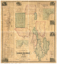 Sagadahoc County Maine 1858 - Old Map Reprint