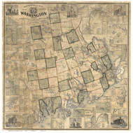 Washington County Maine 1861 - Old Map Reprint