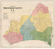 Bruswick County North Carolina 1910 - Old Map Reprint