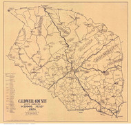 Caldwell County North Carolina 1924 - Old Map Reprint