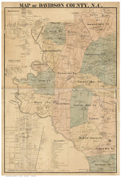 Davidson County North Carolina 1890 - Old Map Reprint