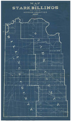 Stark, Billings & part of Mercer County North Dakota 1897 Blueprint - Old Map Reprint