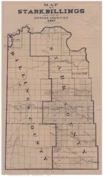 Stark, Billings & part of Mercer County North Dakota 1897 Inverted Colors - Old Map Reprint