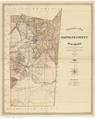 Santa Fe County New Mexico 1883 - Old Map Reprint