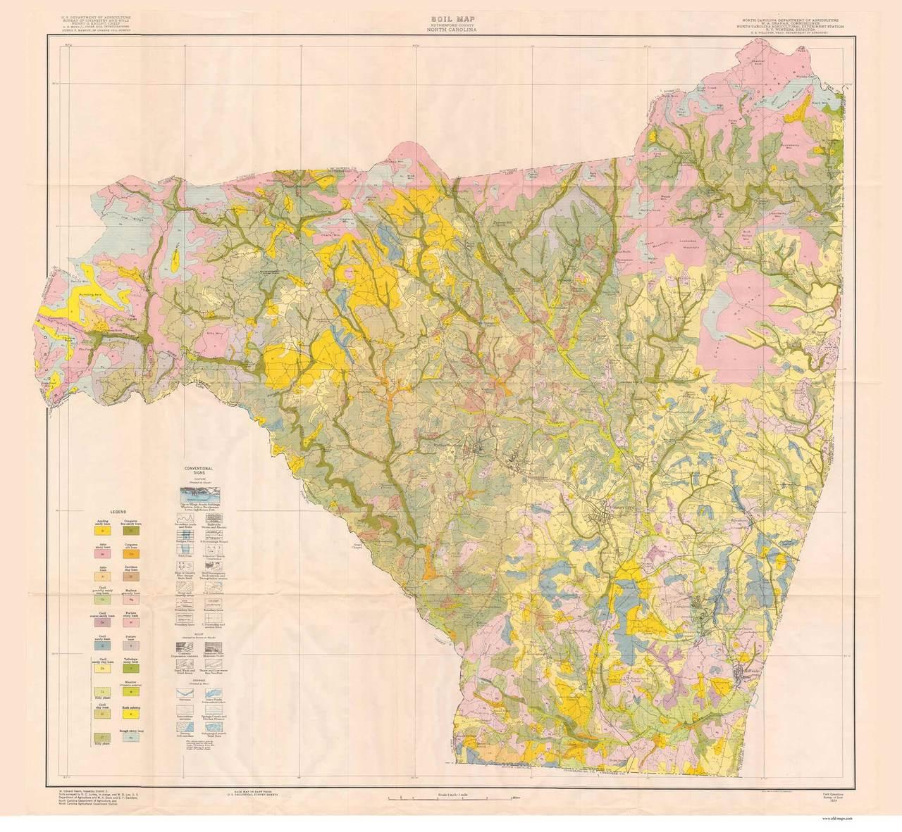 Map 1914.Rutherford County Soils Map 1914 North Carolina Old Map Reprint