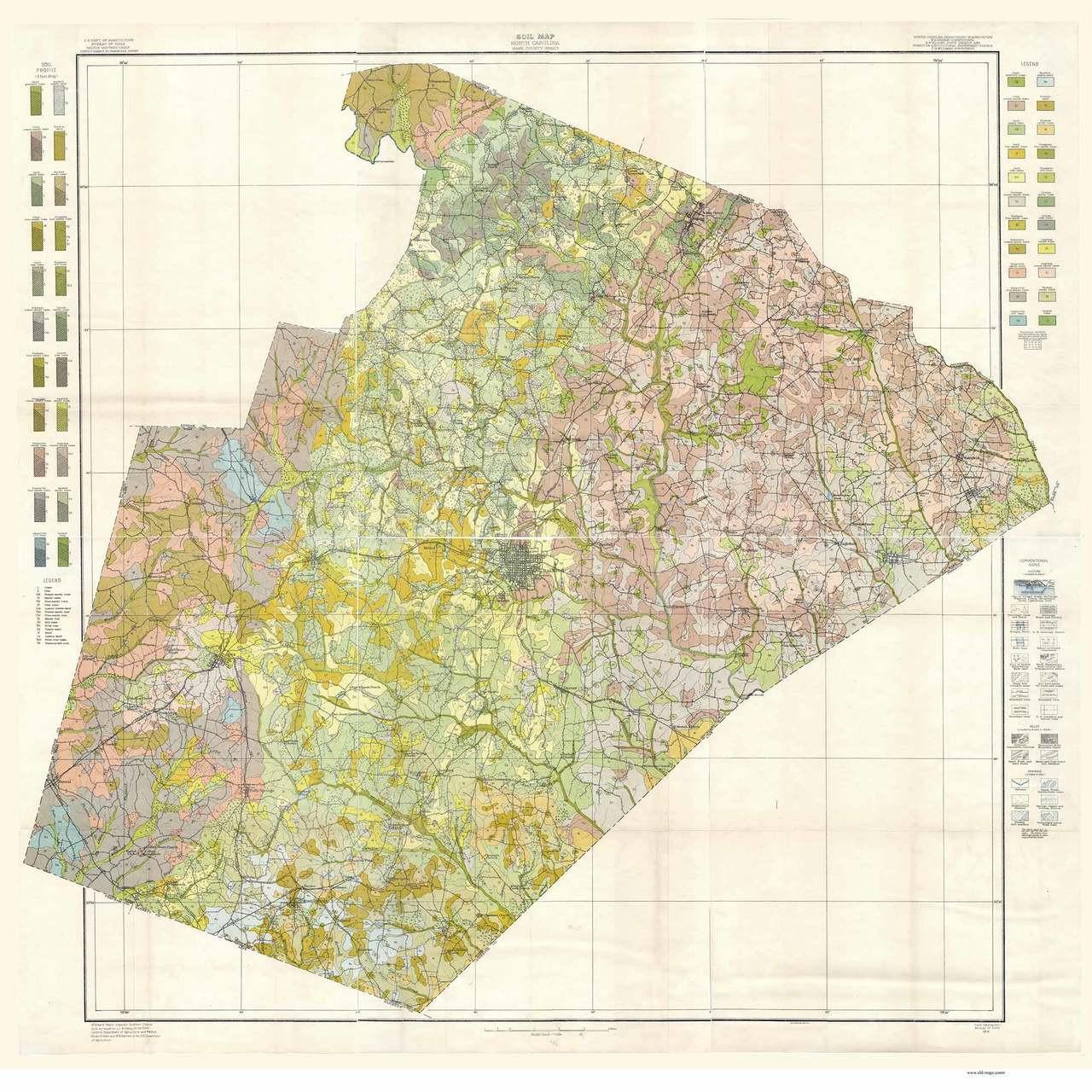 Map 1914.Wake County Soils Map 1914 North Carolina Old Map Reprint