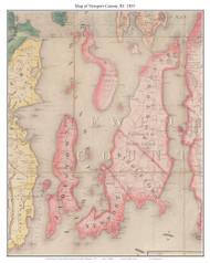 Newport County Rhode Island 1855 - Old Map Custom Print