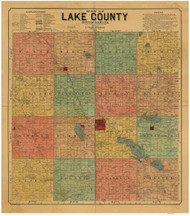 Lake County South Dakota 1899 - Old Map Reprint