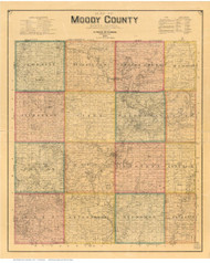 Moody County South Dakota 1896 - Old Map Reprint