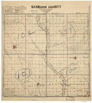 Sanborn County South Dakota 1900 - Old Map Reprint
