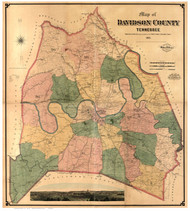 Davidson County Tennessee 1871 - Old Map Reprint