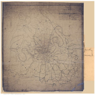 Davidson County Tennessee 1900 - Colors Inverted - Old Map Reprint