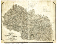Buckingham & Appomattox County Virginia 1863 - Old Map Reprint