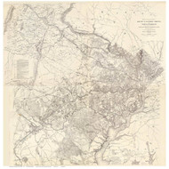 Fairfax County(ALL), Washington DC, and parts of Loudoun & Prince William County Virginia 1862 - Old Map Reprint