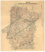 Prince George County Virginia 1865 - Old Map Reprint