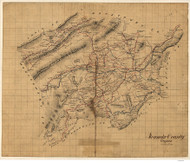Roanoke County Virginia 1860 - Old Map Reprint