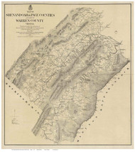 Shenandoah, Page, and part of Warren County Virginia 1870 - Old Map Reprint