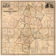 Caledonia County Vermont 1858 - Old Map Reprint
