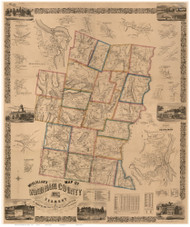 Windham County Vermont 1856 - Old Map Reprint