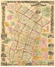 Windsor County Vermont 1856 - Old Map Reprint