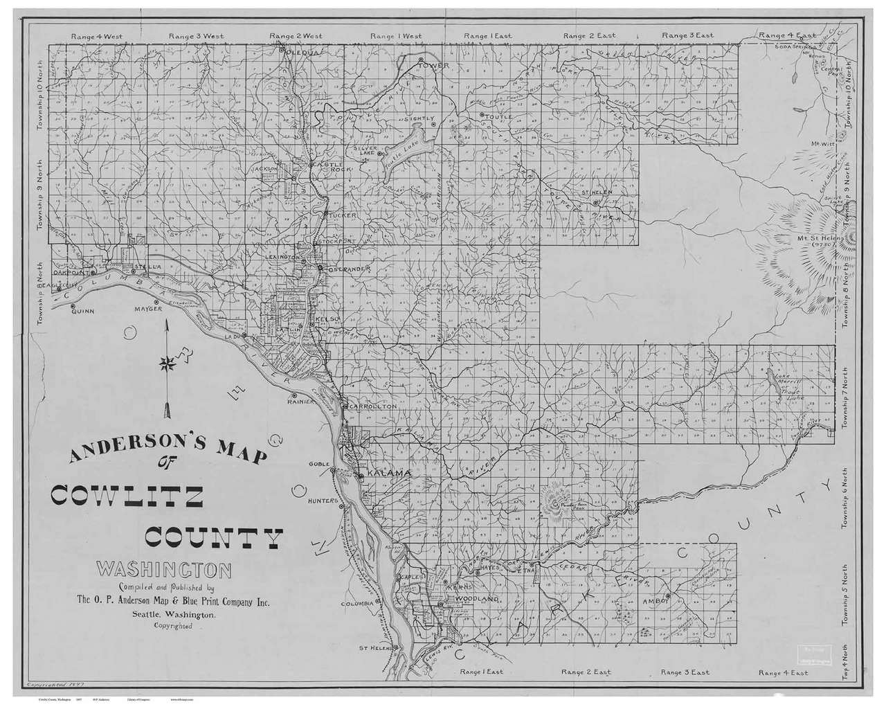 Cowlitz County Washington 1897 - Old Map Reprint