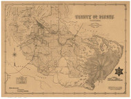 Pierce County Washington 1890 - Old Map Reprint