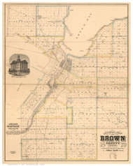 Brown County Wisconsin 1870 - Old Map Reprint