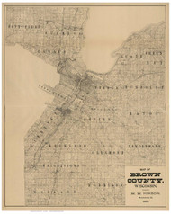 Brown County Wisconsin 1900 - Old Map Reprint