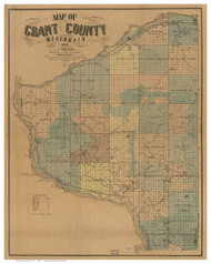 Grant County Wisconsin 1857 - Old Map Reprint