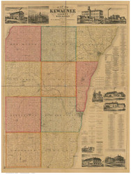 Kewaunee County Wisconsin 1895 - Old Map Reprint