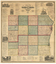 Racine & Kenosha County Wisconsin 1873 - Old Map Reprint
