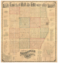 Sheboygan County Wisconsin 1862 - Old Map Reprint