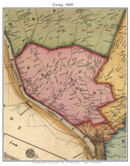 Ewing Township, New Jersey 1849 Old Town Map Custom Print - Mercer Co.