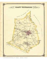 East Windsor Township, New Jersey 1875 Old Town Map Reprint - Mercer Co.